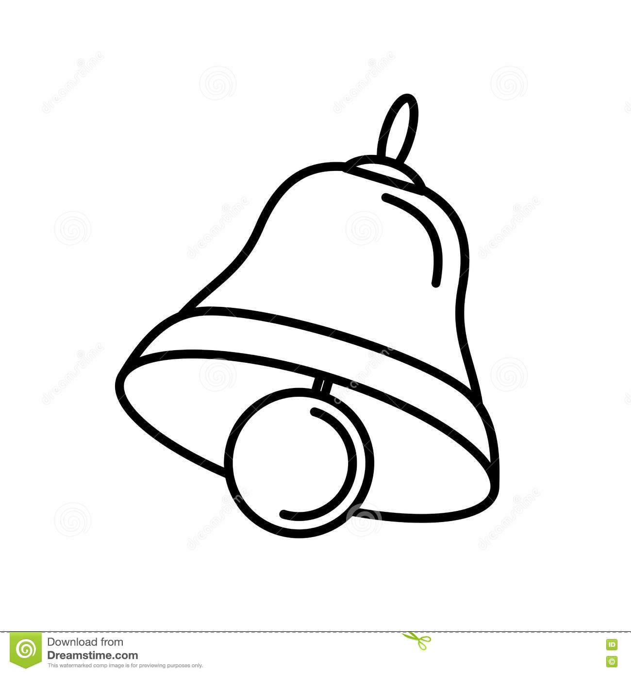 Merry Christmas Bell Isolated Icon Stock Vector