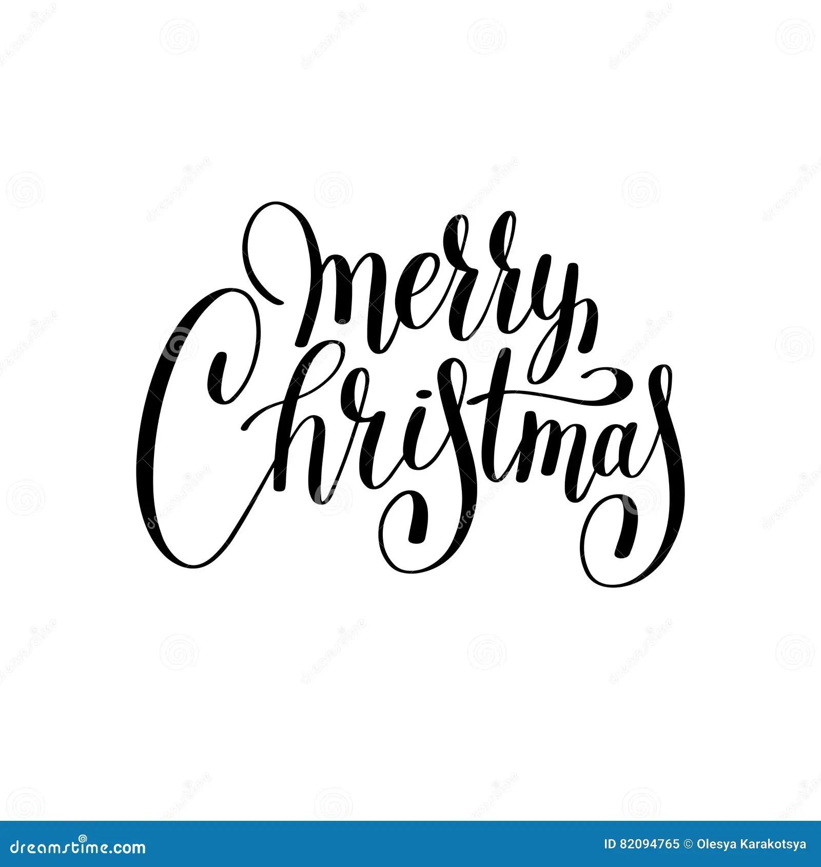 Merry Christmas Black And White Handwritten Lettering