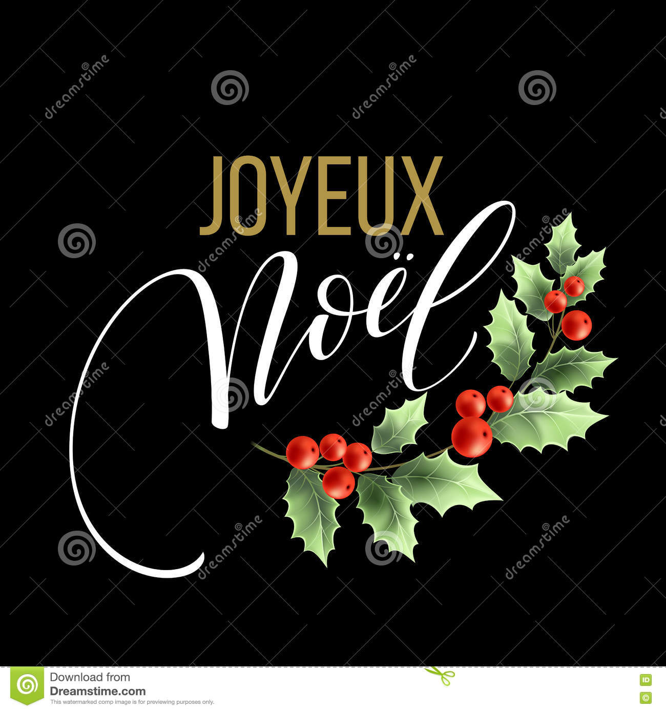 Merry Christmas Card Template With Greetings In French