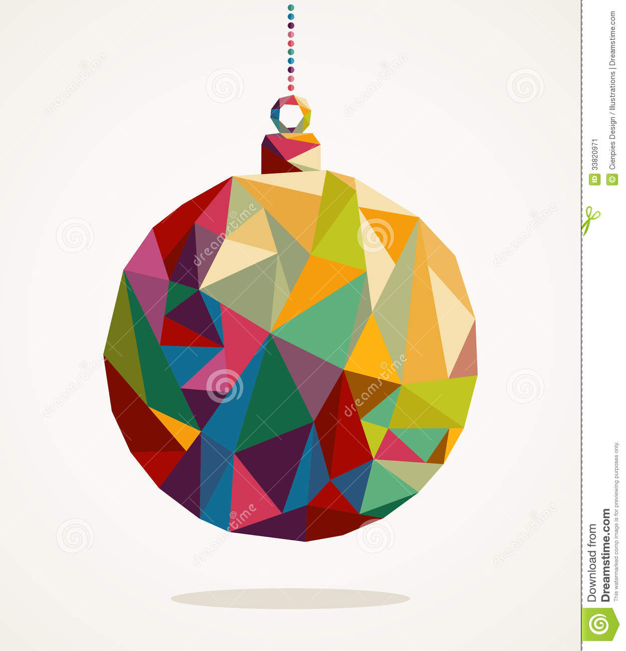 Merry Christmas Circle Bauble With Triangle Composition