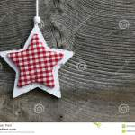 Merry Christmas Decoration White Wooden Star Gingham Fabric