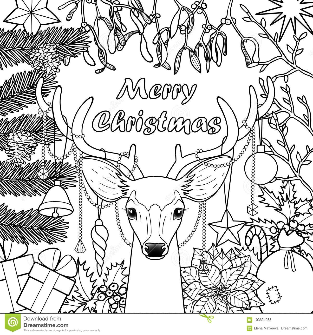 Merry Christmas Deer Greeting Card Stock Vector