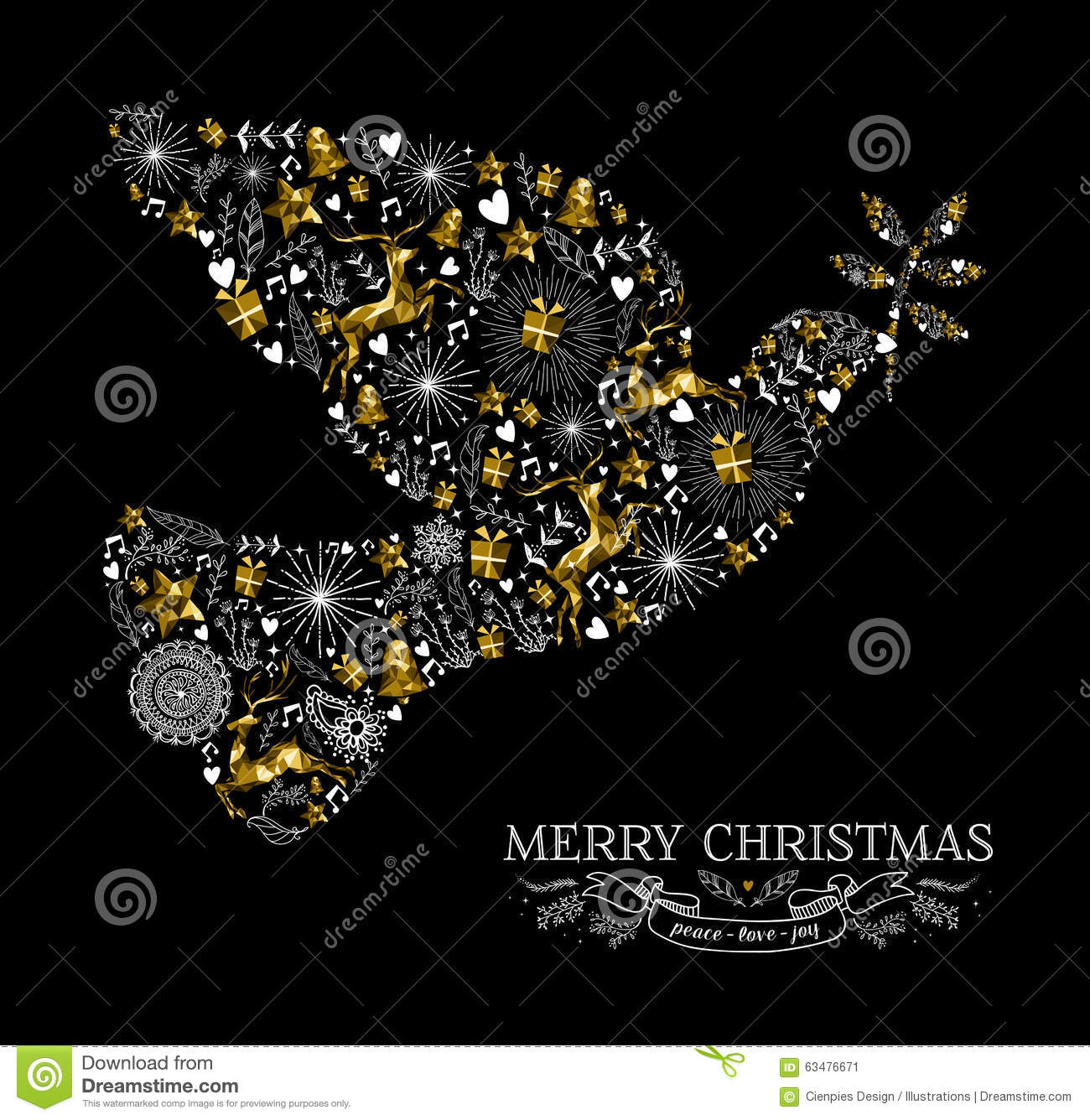 Merry Christmas Dove Bird Silhouette Gold Reindeer Stock