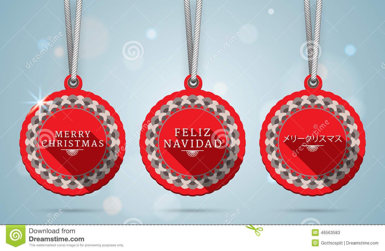 Merry Christmas On English Spanish And Japanese Stock