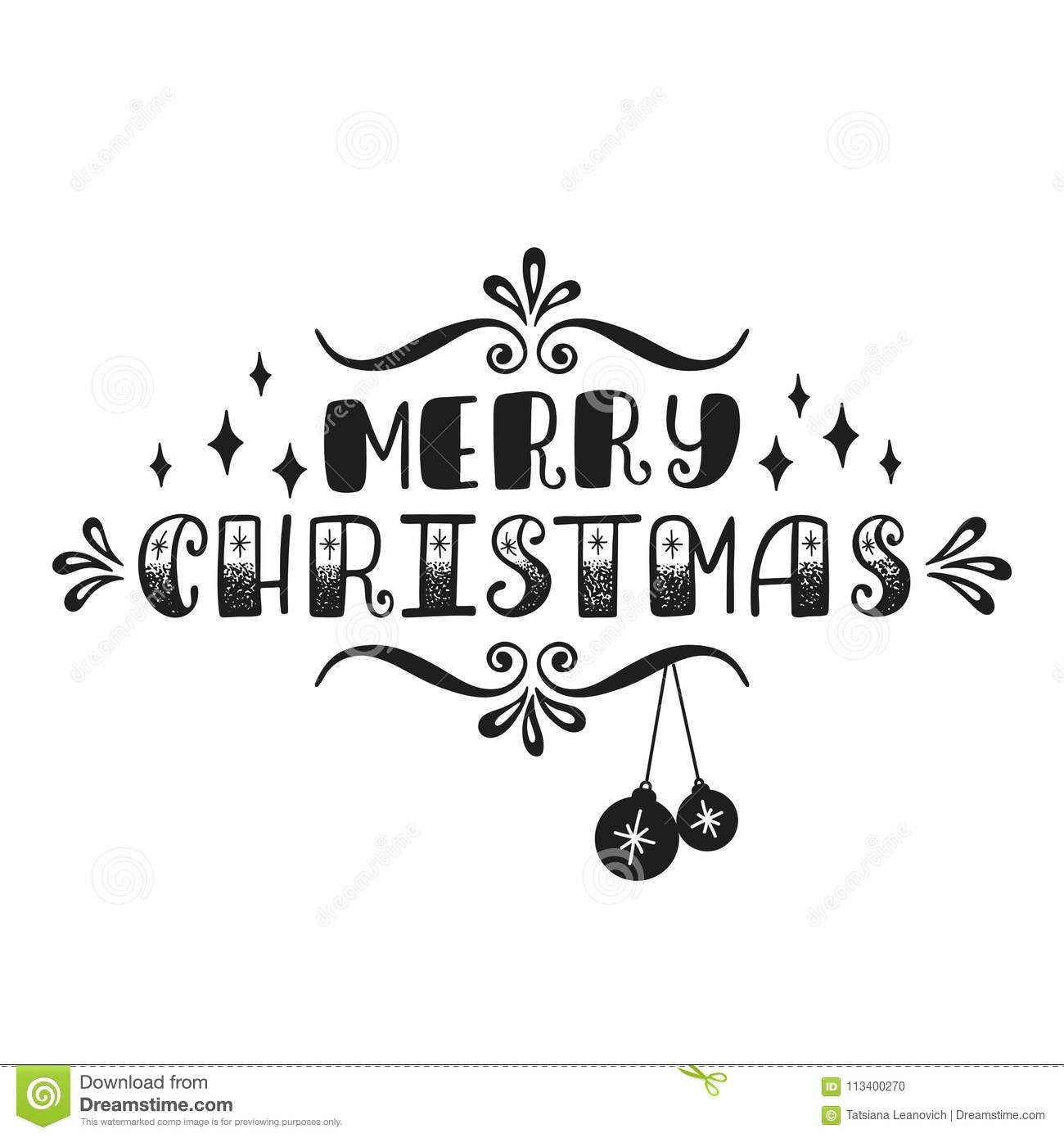 Merry Christmas Handwriting Inscription For Greeting Card