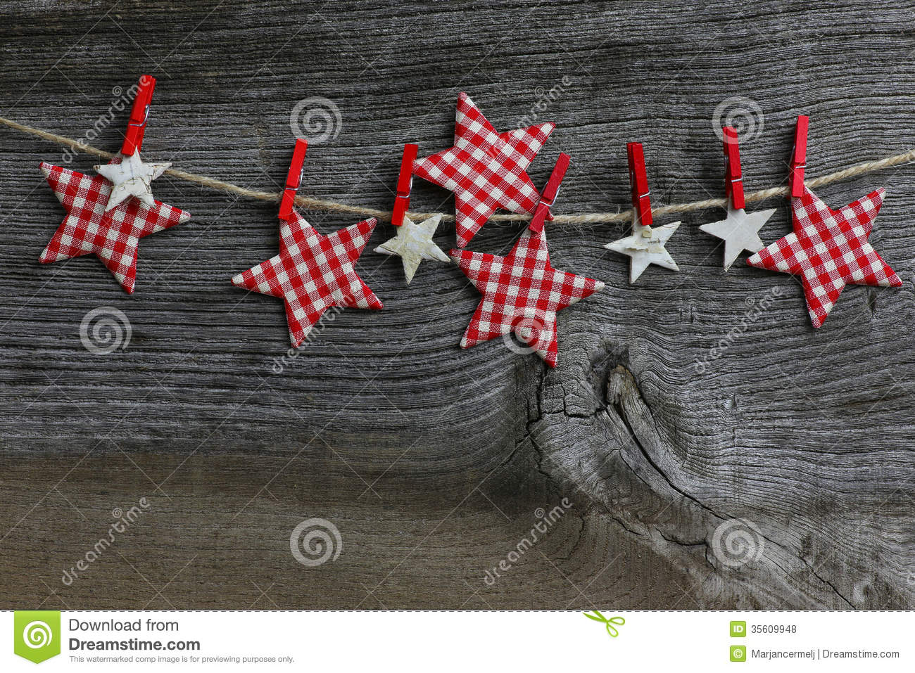 Merry Christmas Hanging Decoration Gingham And Birch Stars