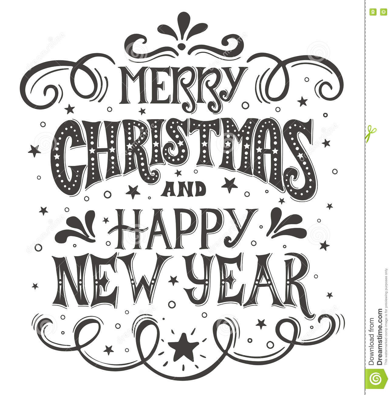 Merry Christmas And Happy New Year Conceptual Handwritten