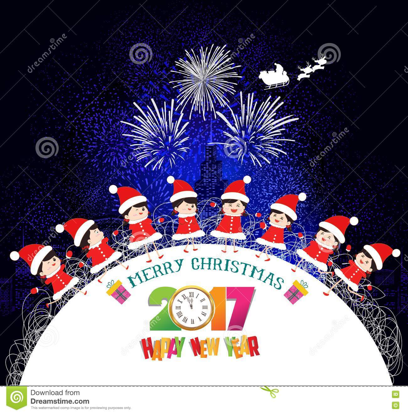 Merry Christmas And Happy New Year Kids Background Children In Circle Winter Stock Vector