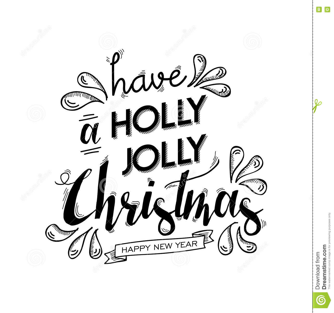 Merry Christmas And Happy New Year Lettering Art Stock
