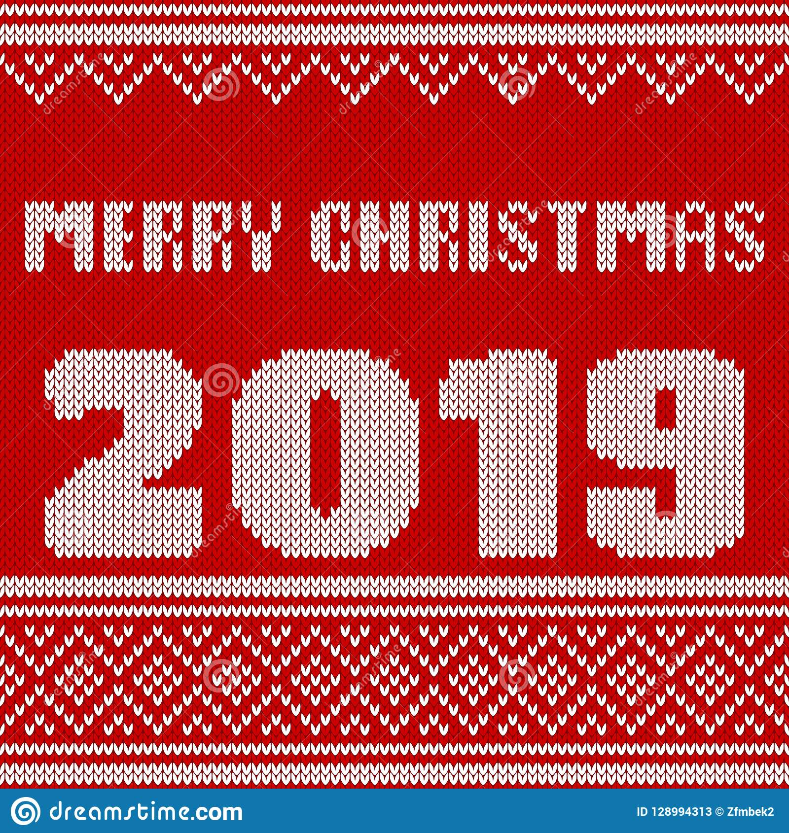 Merry Christmas New Year Seamless Knitted Pattern With
