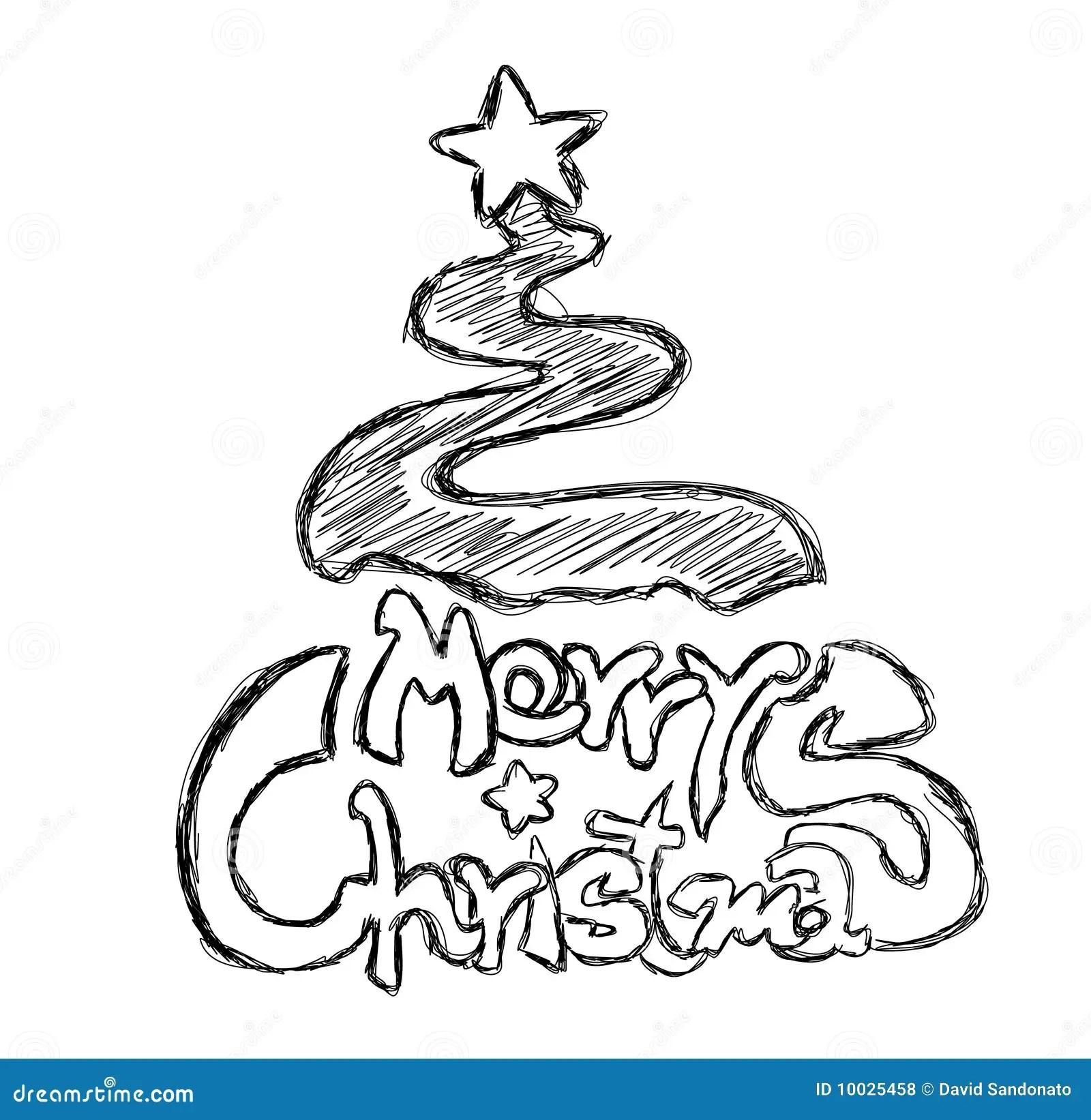 Merry Christmas Phrase Sketch Royalty Free Stock Photos