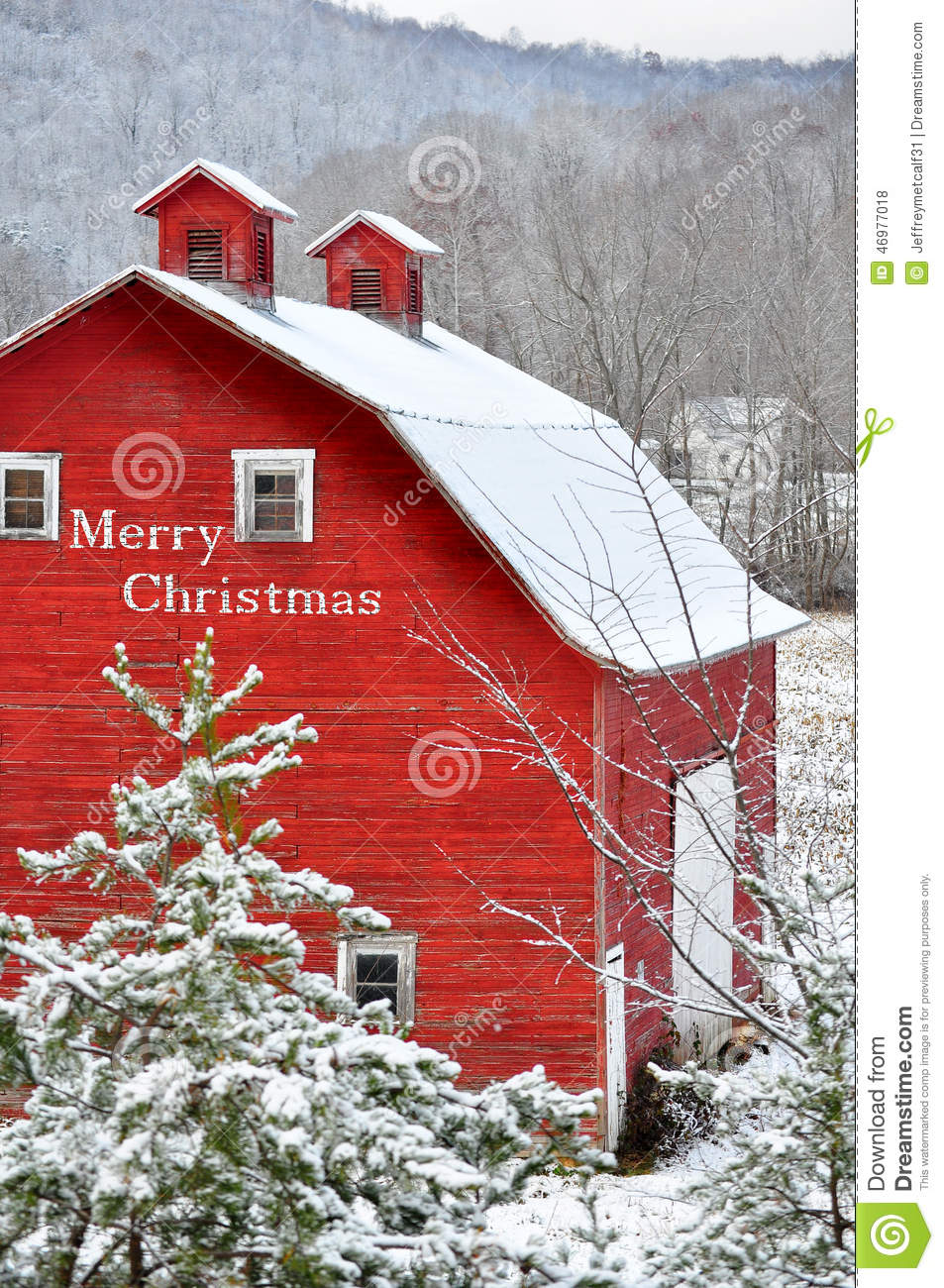 Merry Christmas Red Barn In Snow Stock Photo Image 46977018