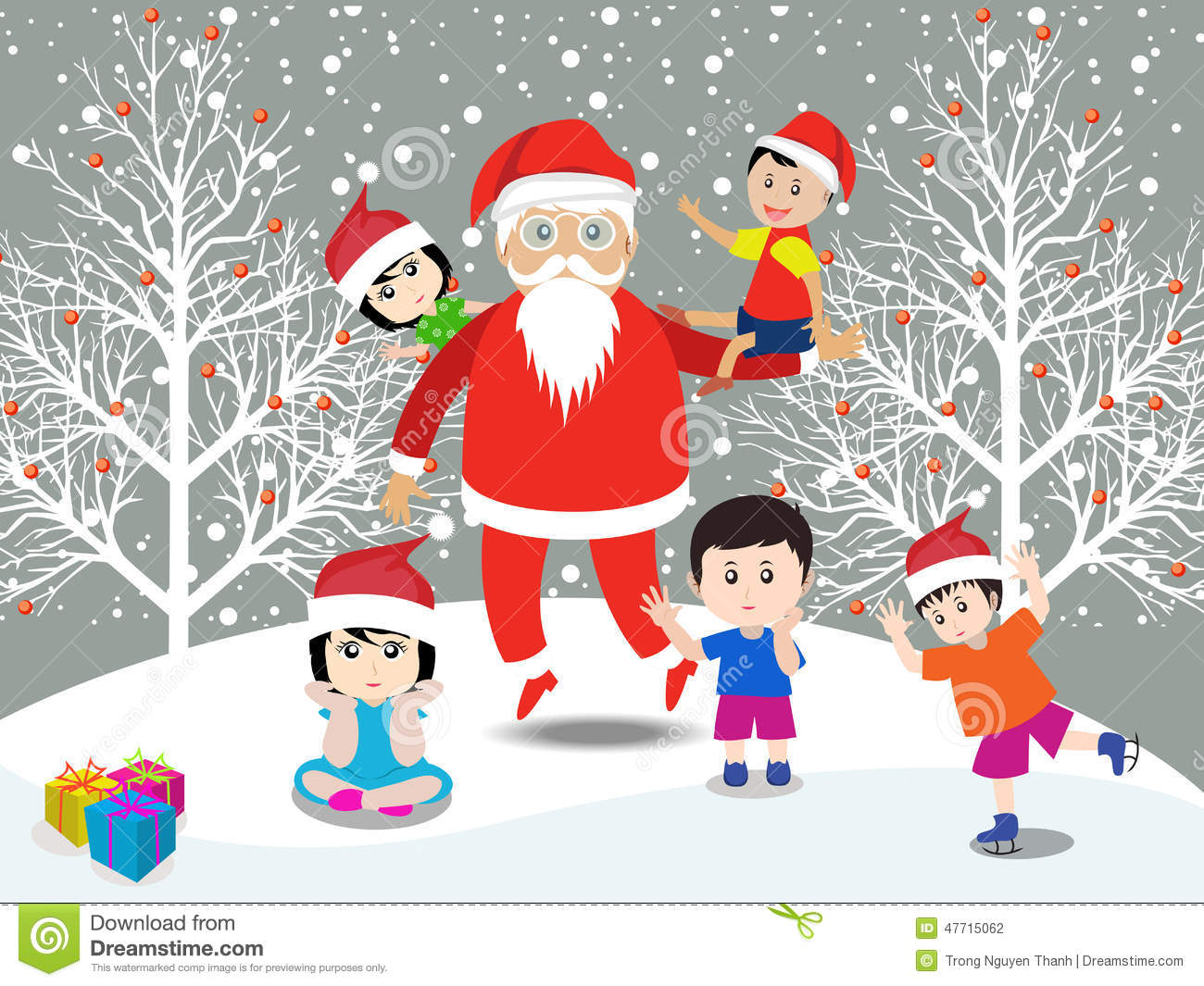 Merry Christmas With Santa Claus And Kids Stock Vector