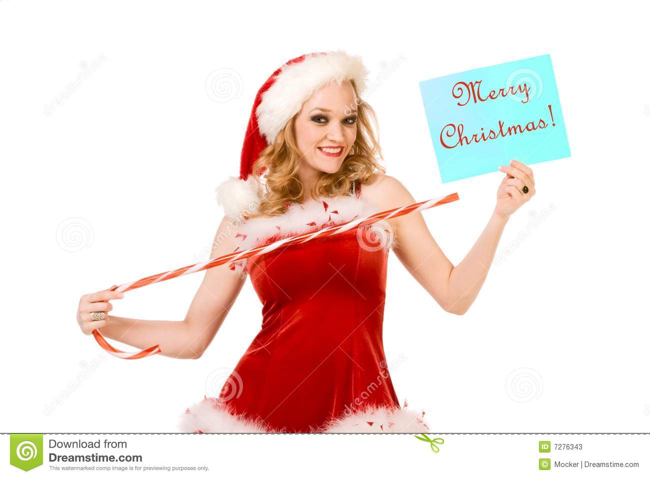 Merry Christmas From Sexy Pin Up Mrs Santa Claus Stock
