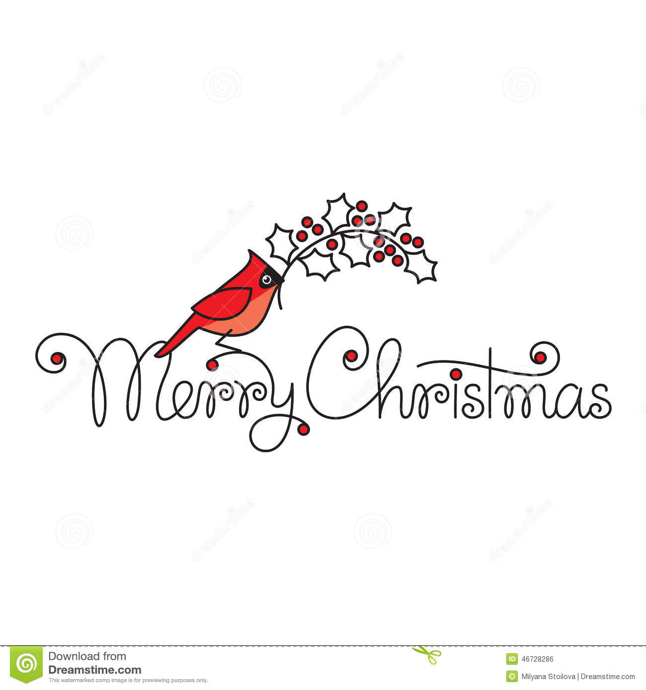 Merry Christmas Text With Red Robin Bird And Branch Stock