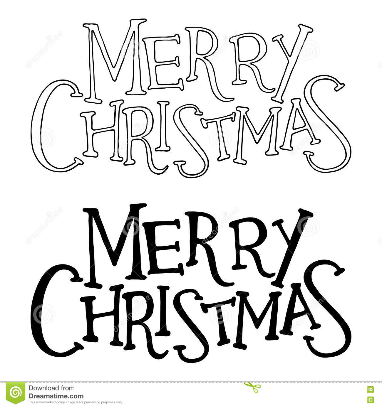 Merry Christmas Text Vector Lettering Isolated Stock