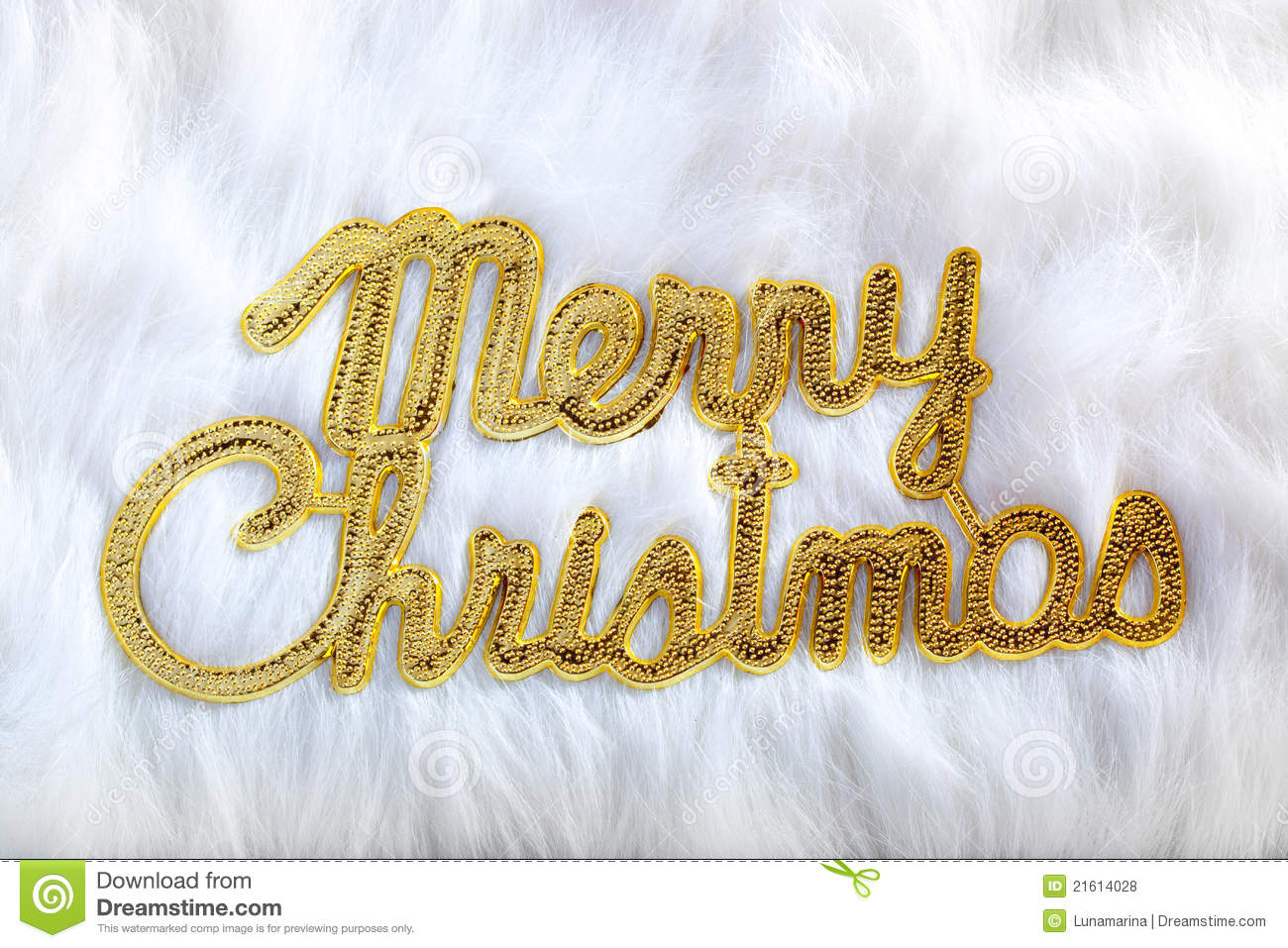 Merry Christmas Written In Gold On White Fur Royalty Free