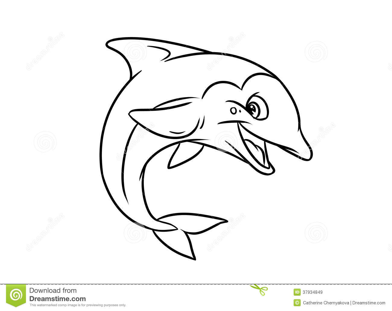 Merry Dolphin Illustration Coloring Pages Royalty Free