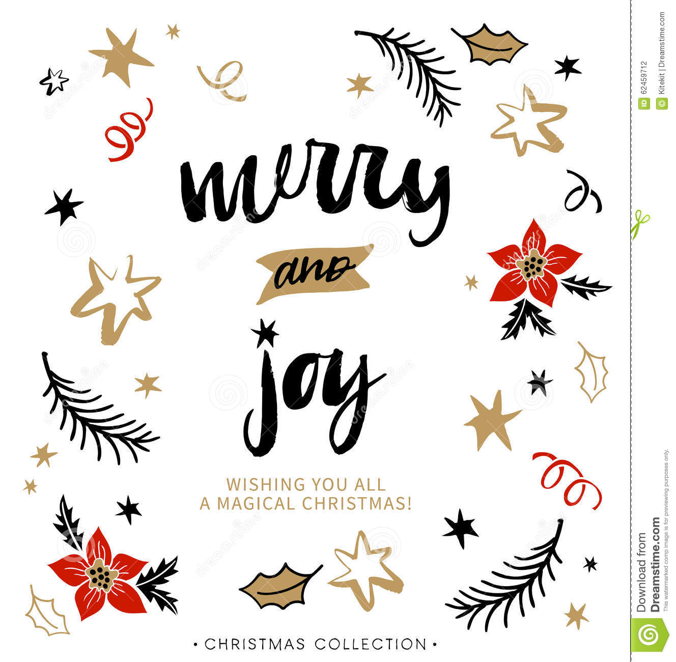 Merry And Joy Christmas Greeting Card With Calligraphy Stock Vector