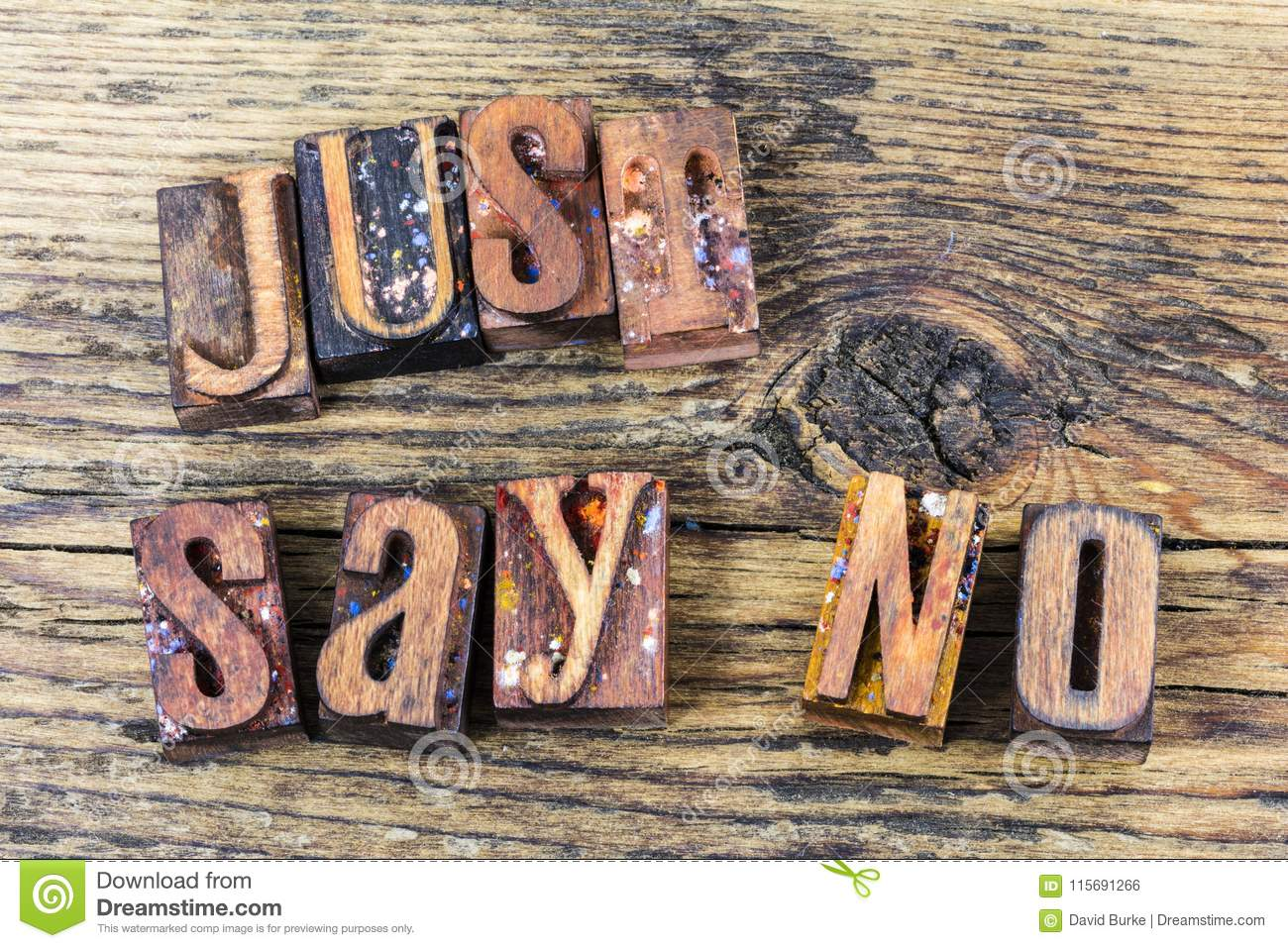 Just Say No Message Letterpress Stock Photo