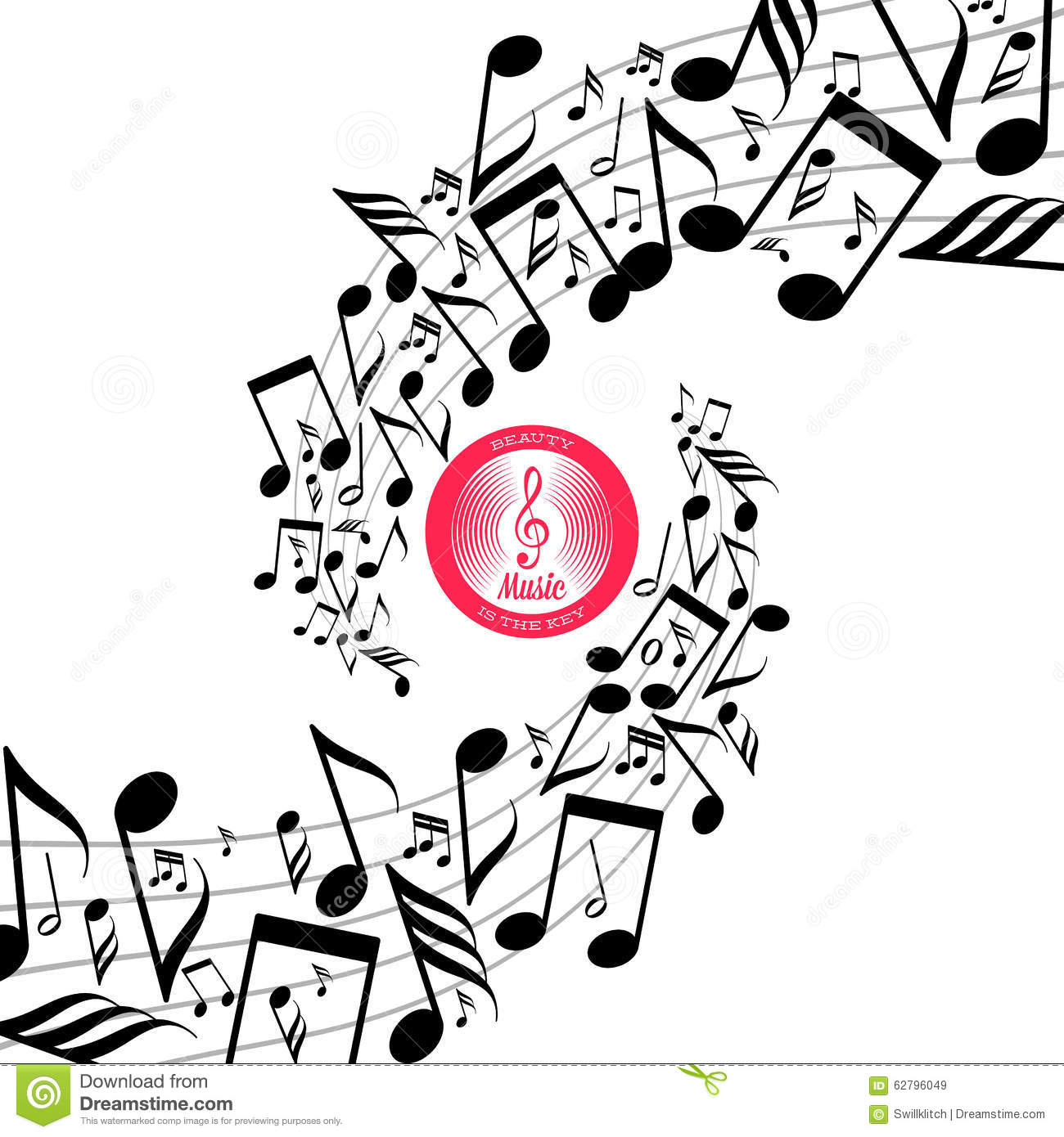 Messy Scattered Music Notes On Stave Cartoon Vector