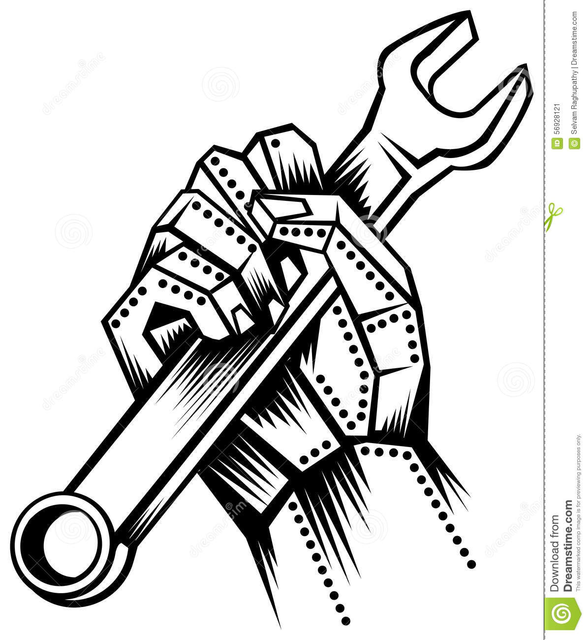 Metal Hand With Spanner Stock Vector