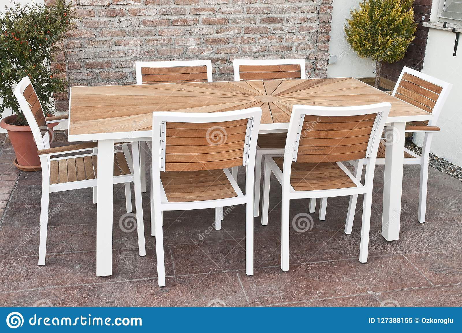 https www dreamstime com metal wood outdoor patio furniture dining table white chairs image127388155