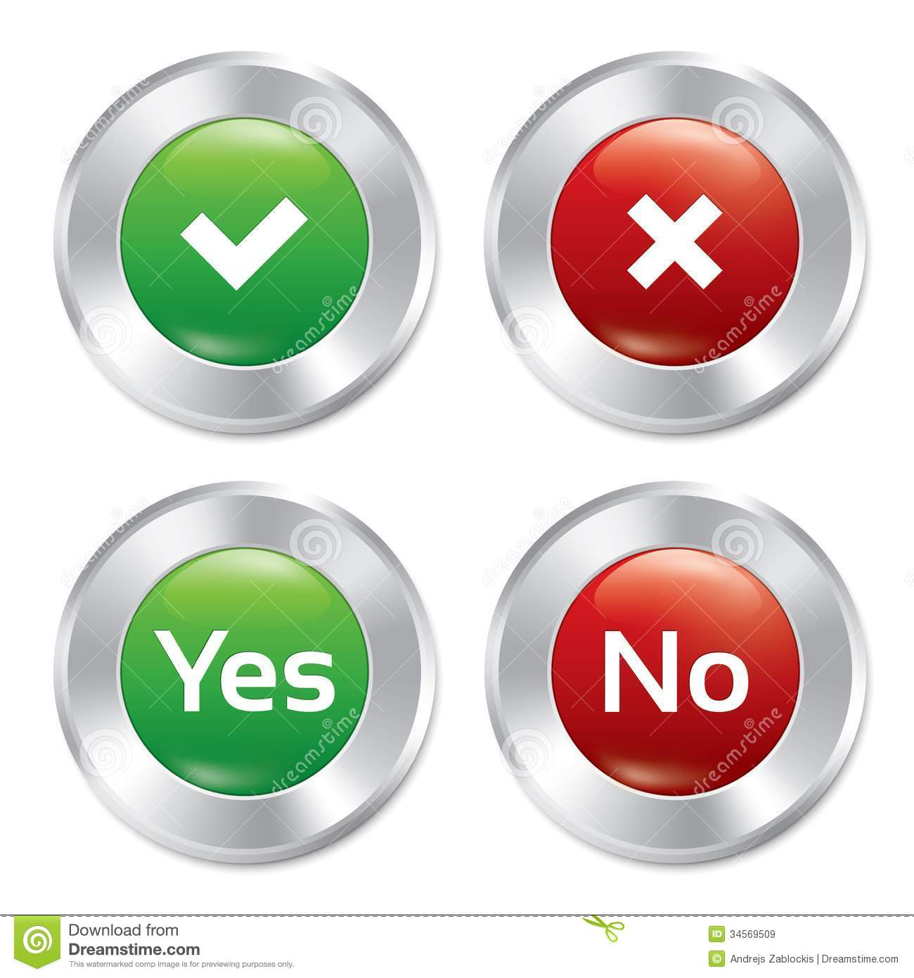 Metallic Yes No Buttons Template Set Royalty Free Stock