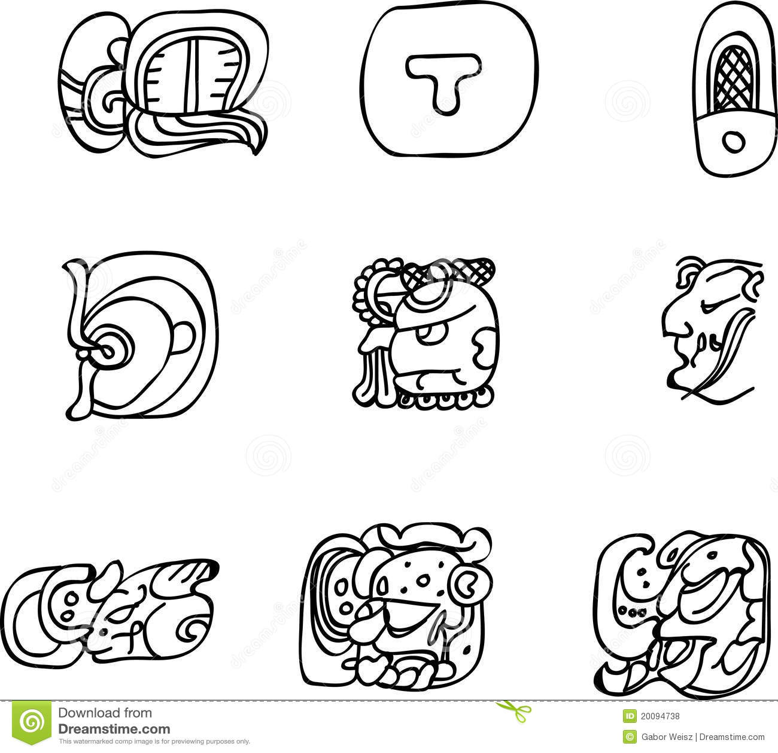 Mexican Aztec Or Maya Motifs Glyphs Royalty Free Stock