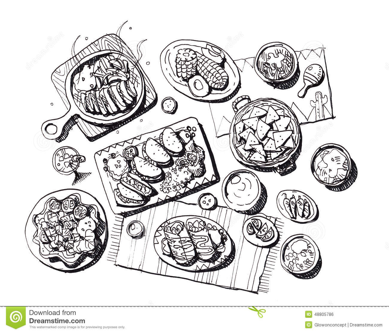 Mexican Food Illustration Stock Illustration Illustration