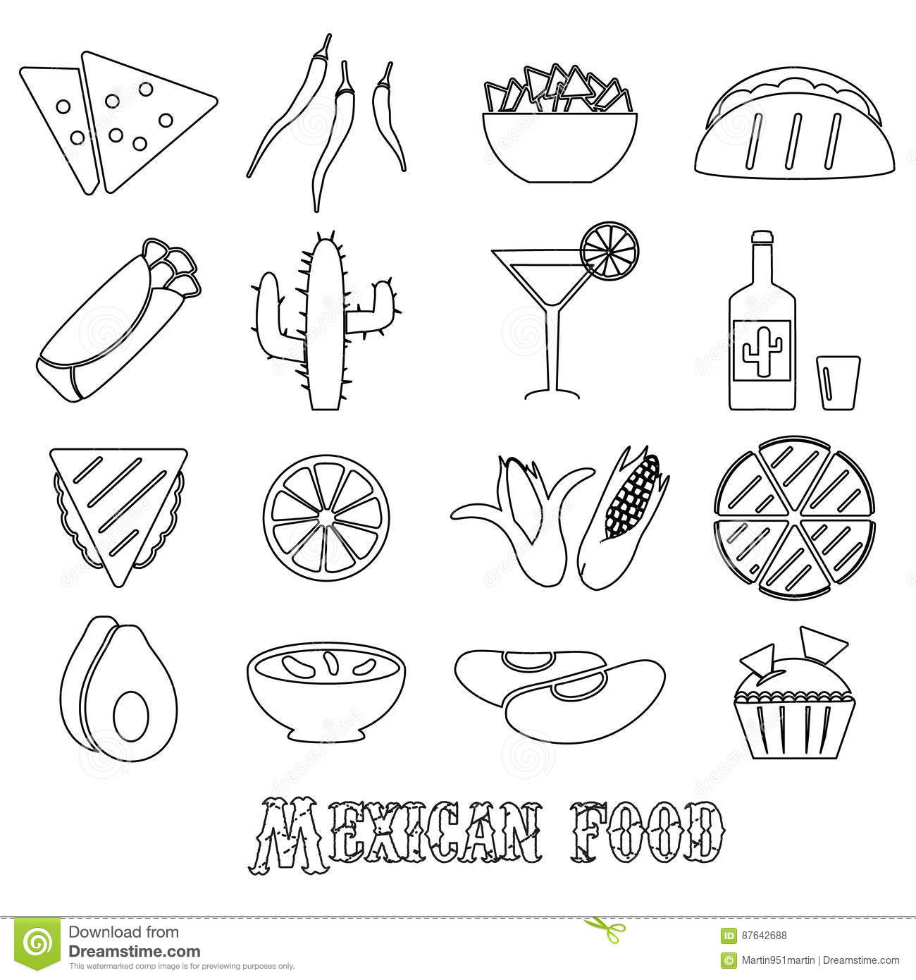 Mexican Food Theme Set Of Simple Outline Icons Stock