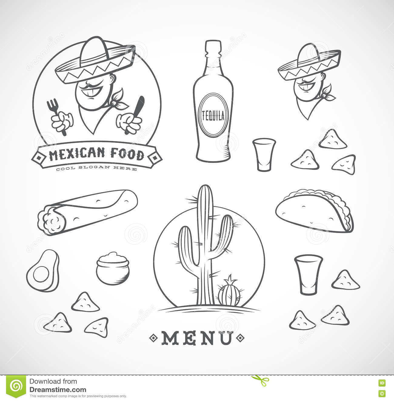 Mexican Restaurant Vector Icon Template Of Cactus In