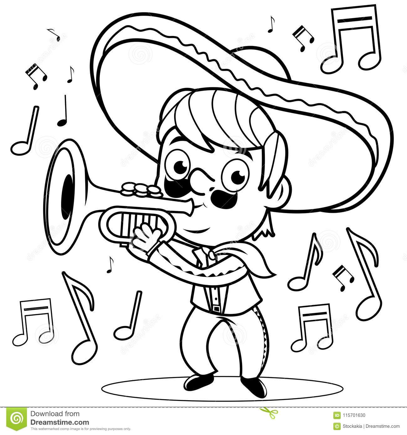 Mexican Mariachi Man Playing The Trumpet Black And White