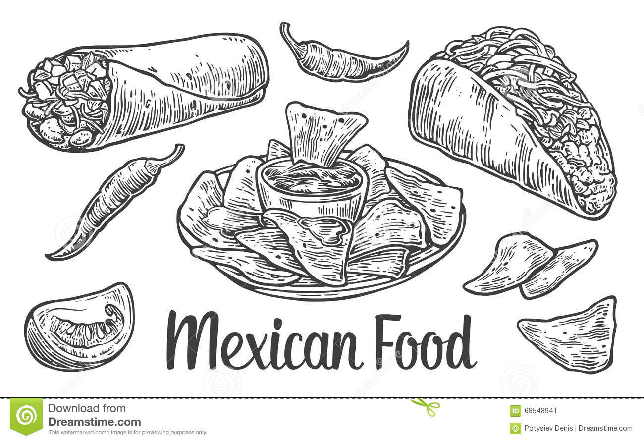 Tacos Mexican Menu Chili Vector Illustration