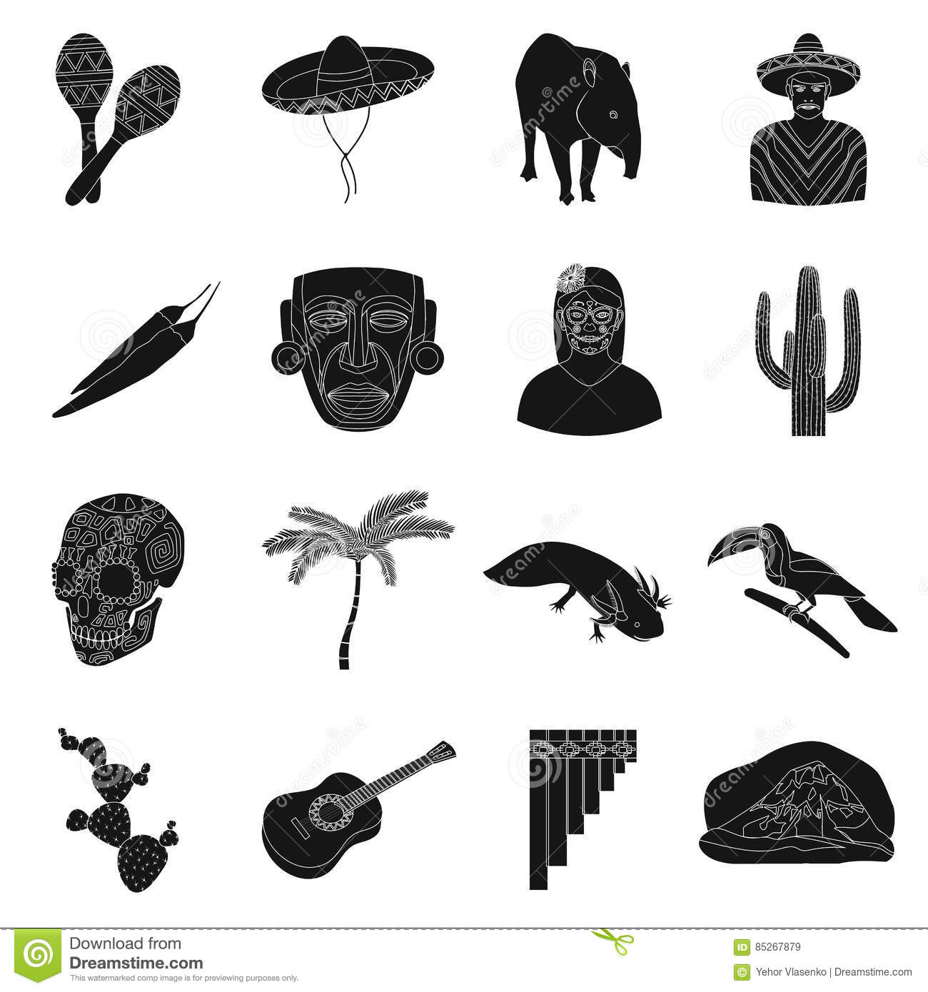 Mexico Silhouette Icons Vector Illustration