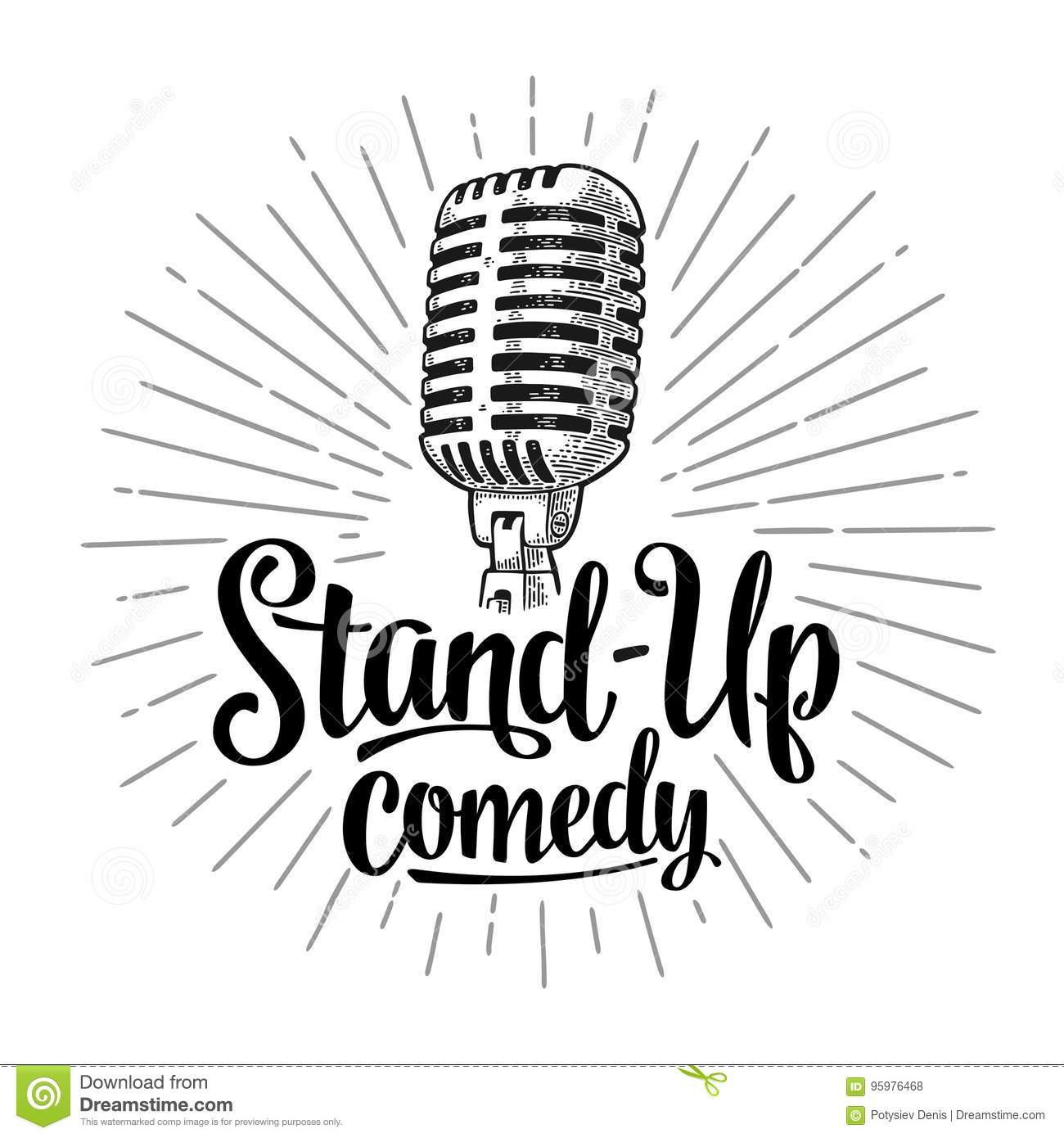Microphone Lettered Text Stand Up Comedy Vintage