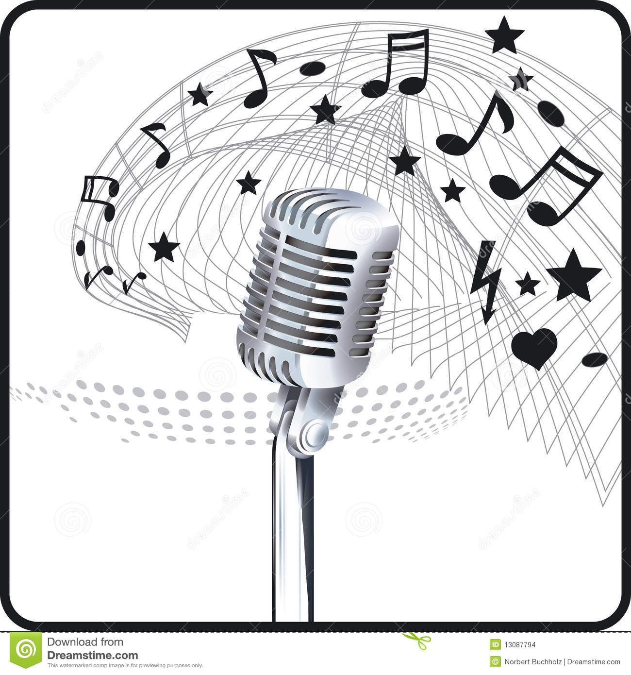 Microphone Sheet Music Stock Vector Illustration Of