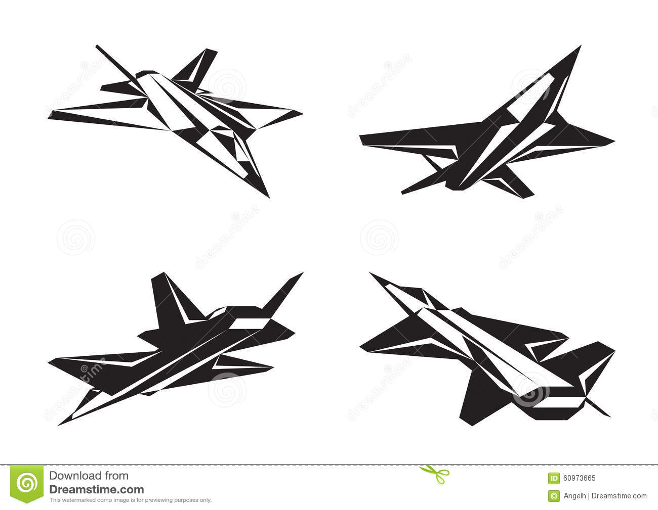 Military Aircraft In Perspective Stock Vector