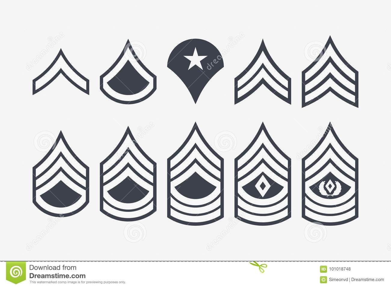 Us Air Force Ranks Stock Illustration