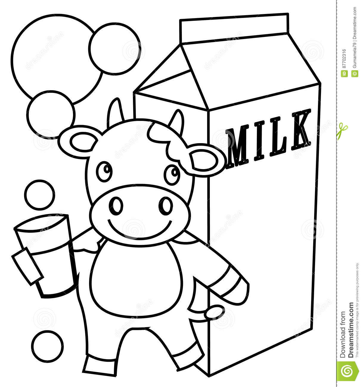 Milk Coloring Page Stock Illustration Illustration Of
