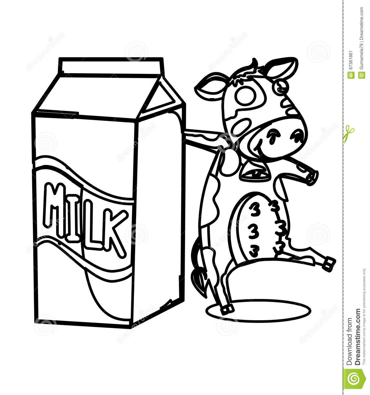 Milk With A Cow Coloring Page Stock Illustration