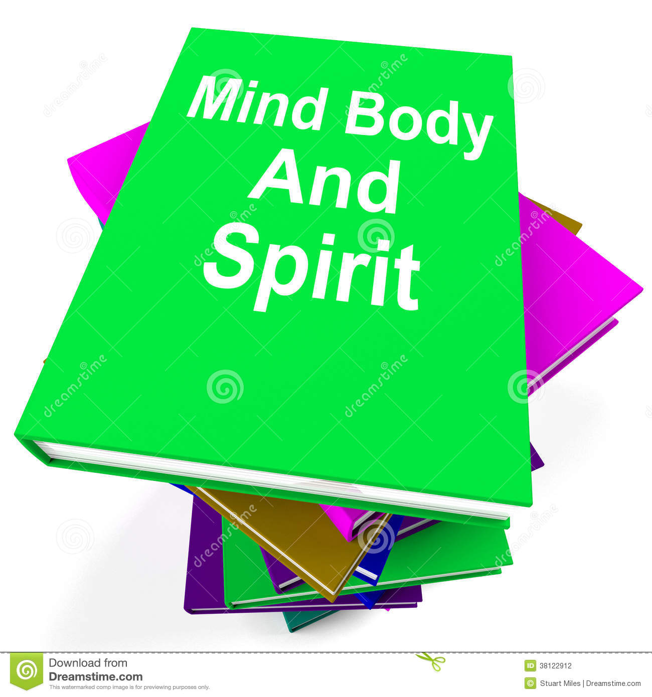 Mind Body And Spirit Book Stack Shows Holistic Stock