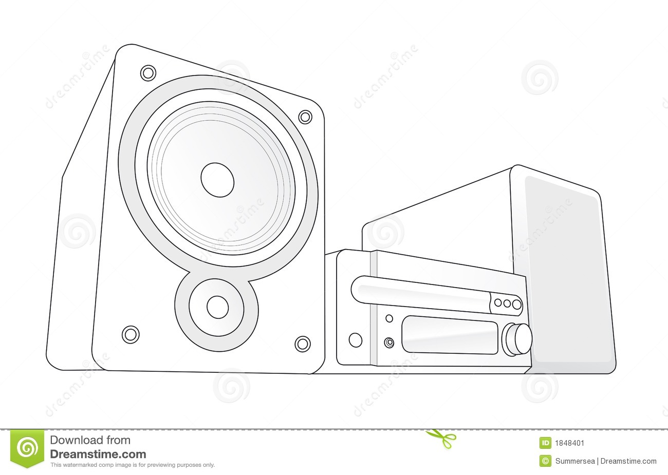 Mini Hifi Vector Illustration Stock Vector