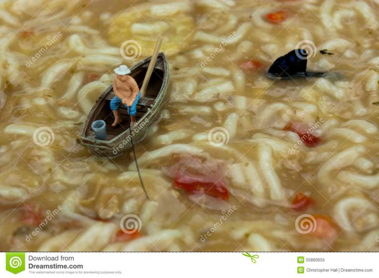 Miniature Man Fishing In Soup Stock Image - Image of soup, humor: 55860655