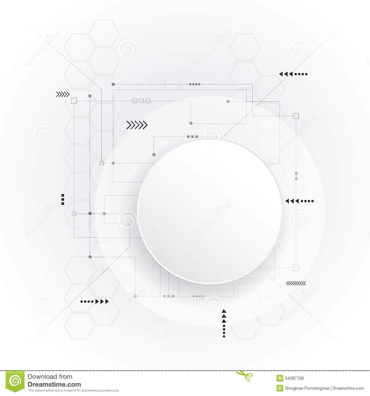 Minimal Abstract 3d White Paper Circle On Circuit Board