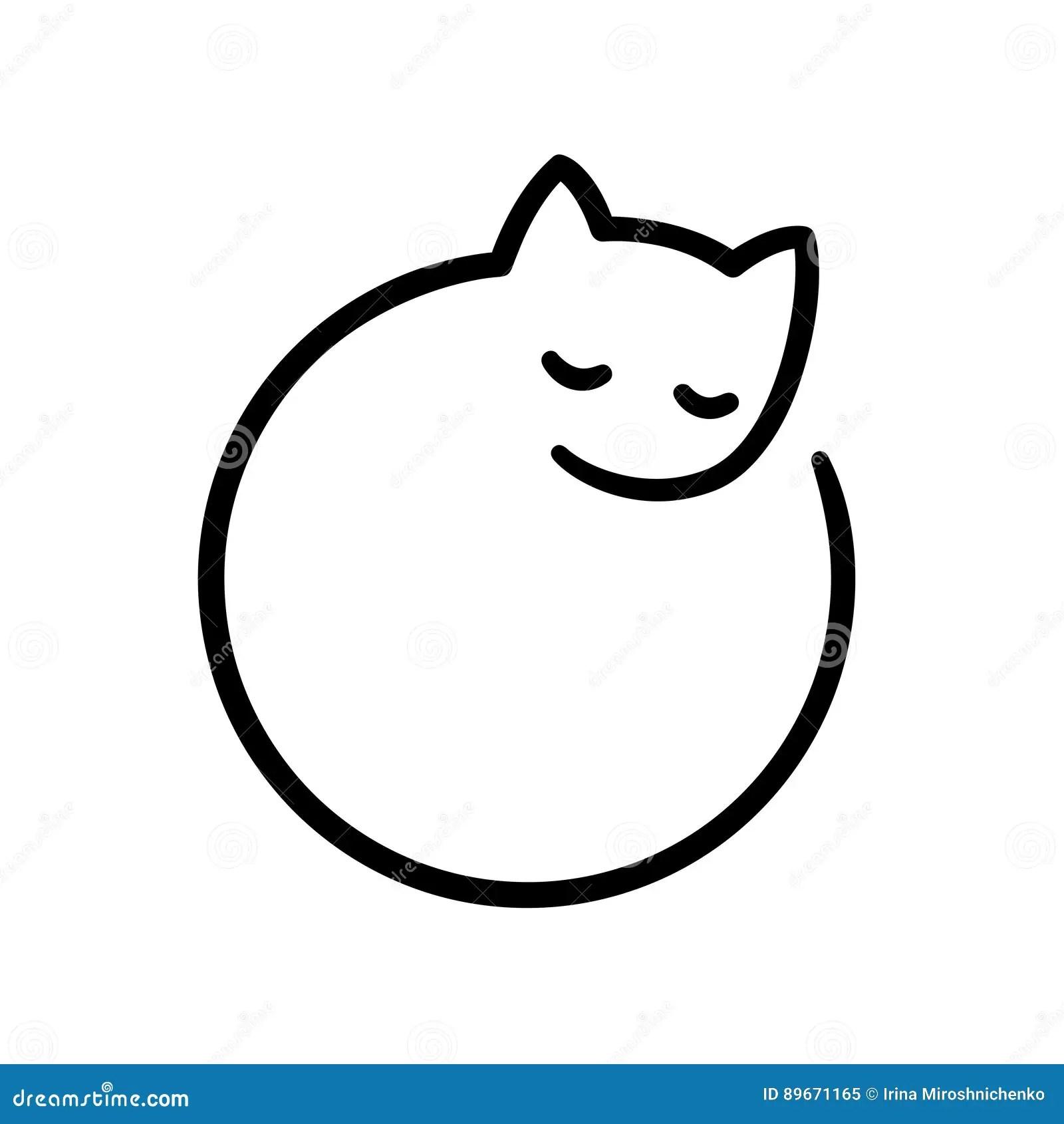 Minimal Cat Logo Stock Vector Illustration Of