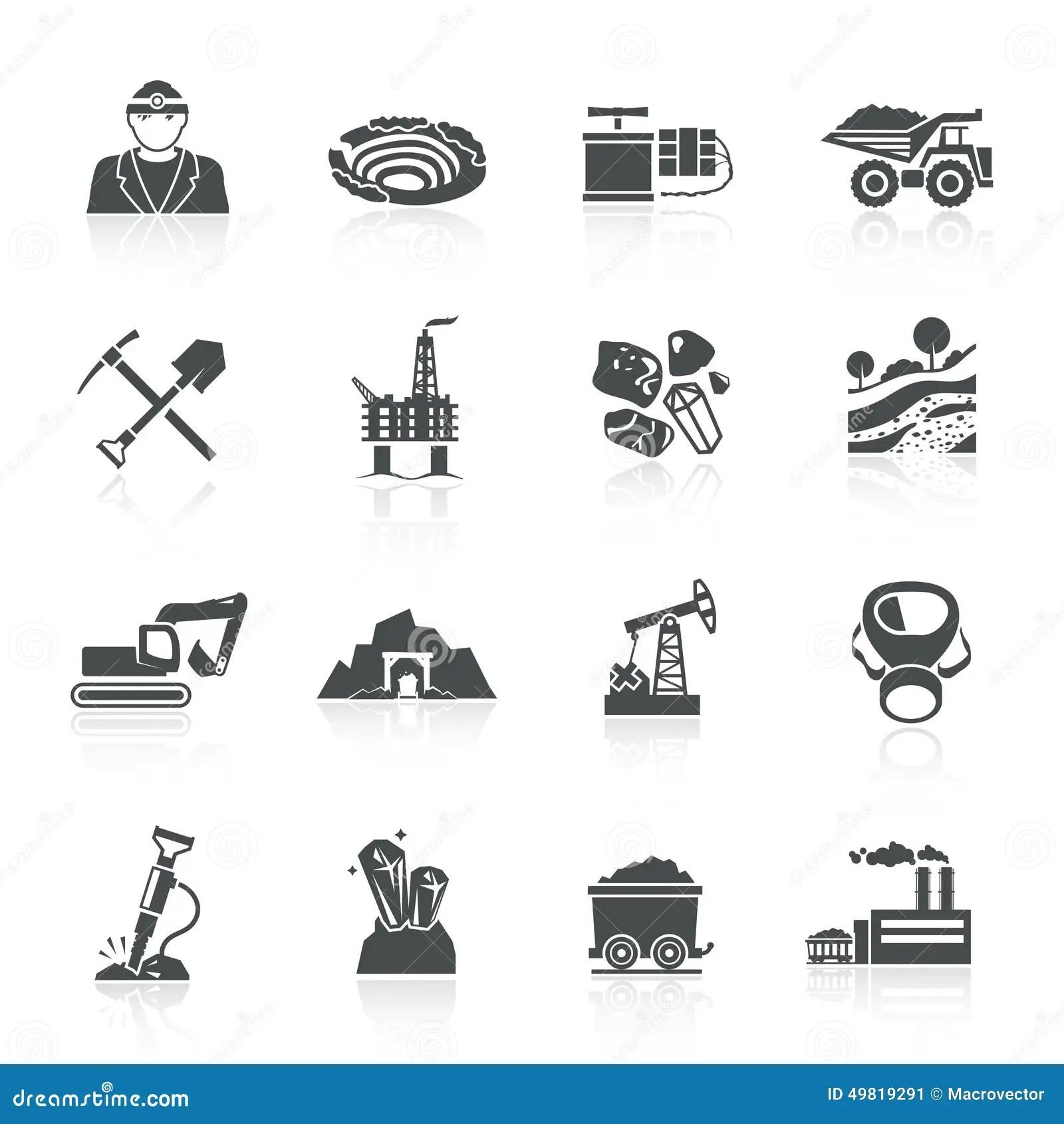 Mining Icons Black Stock Vector