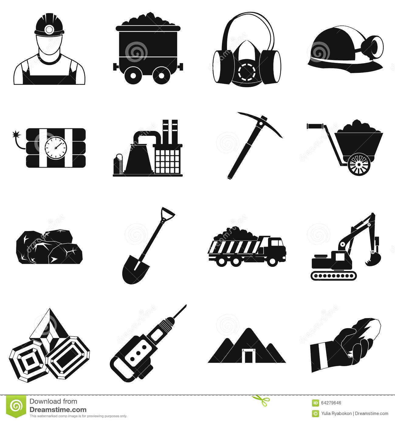 Mining Icons Simple Set Stock Vector