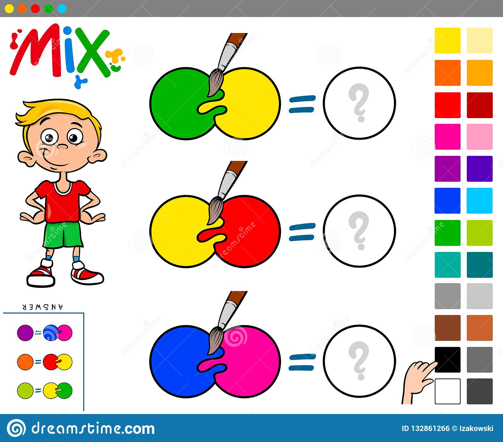 Mix Colors Educational Game For Kids Stock Vector