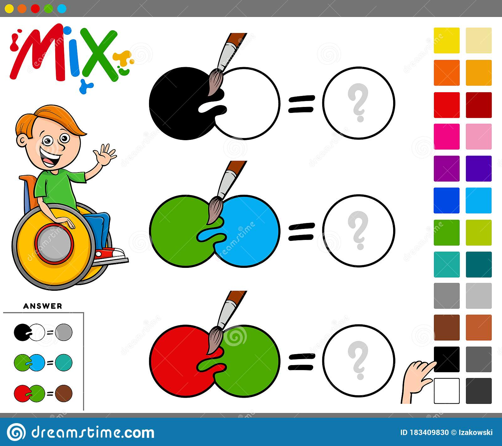 Mix Colors Educational Task For Children Stock Vector